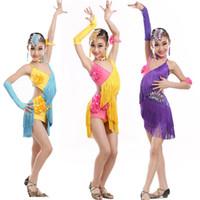 Wholesale Latin Outfits - NEW children's Tassels Latin Dance Dress Girls irregular Rumba Tango Sasa Samba ballroom performance costume competition stage wear Outfits