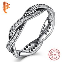 Sterling Silver En Gros Pas Cher-BELAWANG Original 925 anneaux en argent sterling BRAINED RING avec Clear CZ Twist Of Fate Twisted Love Ring pour femmes Authentic Jewelry Wholesale