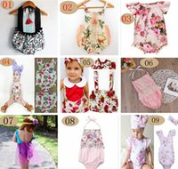 Wholesale Floral Rompers Jumpsuits - ins summer baby girls lace floral rompers Newborn Infant child Girl sweet Clothes Tassels Strap Lotus Romper Bodysuit Jumpsuit