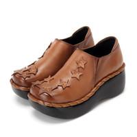 plataforma de cuero genuino zapatos de cuero de vaca al por mayor-Nueva Plataforma de piel de vaca Cuñas Zapatos Mujer Tacones Altos 2019 Primavera Otoño Zapatos de cuero genuinos cómodos Moda Zapatos casuales de gran tamaño