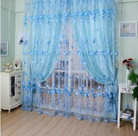 Wholesale Tulip Curtains - 1M*2M Window Curtains Sheer Voile Tulle for Bedroom Living Room Balcony Kitchen Printed Tulip Pattern Sun-shading Curtain