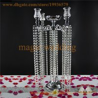 Wholesale Diamond Candles Holders - 5 Arm Glass Candlestick Votive Candle Holder with Acrylic Crystal Bead Garland Diamond Strand