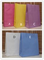 Wholesale Paper Vegetables - 5 Colors (26*33*12CM) Fashion Hand Length Handle Paper Bag kraft paper bag,Festival gift package