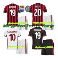 Wholesale Honda Kits - 2017 AC Milan jersey adult kits 17 18 thai quality AC Milan home LAPADULA HONDA BONAVENTURA ABATE DEULOFEU LOCATELLI football shirts