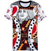 Wholesale Queen Playing Card - Wholesale- Funny 3D Printed T-shirts Playing Cards King & Queen Tee Shirt Comfortable Summer Tops Short Sleeve O-Neck Poker Unisex TShirt