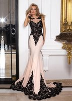 Wholesale Dresses Scalloped - Alluring 2017 Black And White Lace Mermaid Evening Dresses With Appliques Scalloped Neck Sheer Back Cheap Prom Dress Fitted Evening Gowns