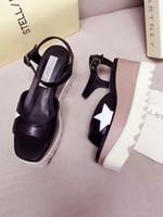 Wholesale Nude Wedges Sandals - 2017 Summer Stella Mccartney Star Sandals Genuine Leather Elyse Platform Women Shoes