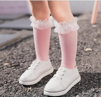 Wholesale Socks Baby Animal Lace - 2017 Kids Girls Lace cotton Socks Kids Girls Princess Knee length sock baby girl children's wholesale clothing