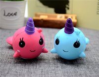 Wholesale Big Whales - DHL Free Shipping Cute Squishy Narwhal Unicorn Whale Blue Slow Rising Cute Soft Stress Relief Toys