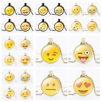 Wholesale Tear Statement Necklace - Silver Emoji Pendant Necklace Cute Smiling Face With Tears Of Joy Gemstone Statement Necklace Fine Clavicle Chain For Kids