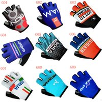 Wholesale Motorcycle Half Finger Gloves - New team sky Cycling Gloves Half Finger Unisex Outdoor Sports Cycling Motorcycle Racing bike Glovers Fitness MTB Road Bike Gloves C2301