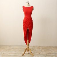 Wholesale Simply Short Chiffon Dresses - 2017 Red Hi-Lo Short Prom Dresses Jewel Sexy Backless Chiffon Pleats Draped Formal Dress Simply Evening Gowns