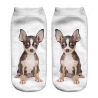 Wholesale Cool 3d Socks - Wholesale-1 pairs Unisex Fashion Cool Vivid 3D Printed Patterns Cotton Brown chihuahua Anklet Socks Hosiery high quality Free Shipping