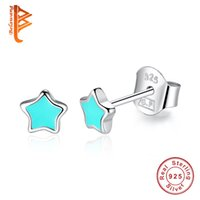 Wholesale Vintage Enamel Sterling - BELAWANG Blue&Pink Enamel Five-pointed Star Earrings for Women Vintage Jewelry 2017 New 925 Sterling Silver Stud Earrings Birthday Gift