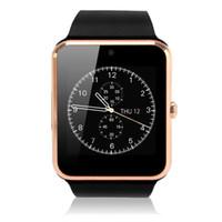 relojes sincroniza iphone al por mayor-1 pieza Smartwatch GT08 Notificador de sincronización de reloj con tarjeta SIM Bluetooth Smart Watch para Apple iPhone IOS Samsung Android Phone
