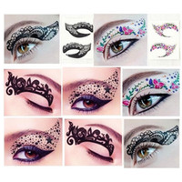 Wholesale Instant Eye Shadow Stickers - Crazy Temporary Tattoo Stickers Girls Women Party Instant Eye Shadow Sticker Colourful Makeup Eyeshadow Eye Rock Free Shipping ZA2087
