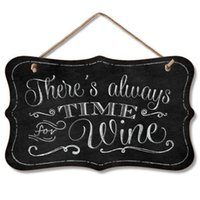 Wholesale Chalkboard Sign There s Always Time for Wine hanging wall chalkboard wood plaque sign for wine shop decor