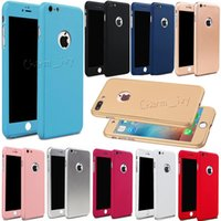 Wholesale Iphone5 Hybrid - Hybrid 360 Hard Ultra Thin Phone Case Tempered Glass Cover For iPhone5 6 7 Plus & Samsung S6 7