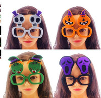 Wholesale Skeletons Props - Halloween Cosplay glasses frame non-woven Funny Skeleton Ghost Pumpkin glasses frame No Lens Glasses Fancy Party Props KKA3123