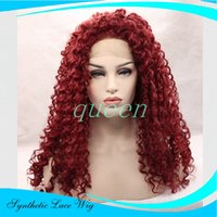 Wholesale Cheap Red Curly Synthetic Wigs - cheap Hotsales synthetic Afro kinky curly lace front wig heat resistant sexy natural black short hair cut women wigs in stock cosplay wig