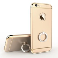 Wholesale 3d Hard Gold - Luxury 3D Aluminum Metal buckles finger Phone Ring Case holder For iPhone 7 6s 7plus 5SE 5S All Around Protection Hard Kickstand Back Cover
