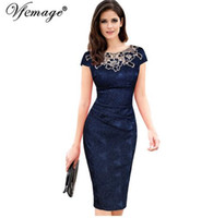 Wholesale Embroidered Night Dresses - Vfemage Womens embroidery Elegant Vintage Dobby fabric Hollow out embroidered Ruched Pencil Bodycon Evening Party Dress