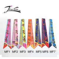 Wholesale Wholesale Silk Wrap Ribbons - Wholesale-Twilly hot sale new Fashion High-quality Printed carriage Silk Scarf Small Ribbon Women headband wrapping printed headwear