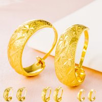 Wholesale Earrings Gold 24k Wholesale - Bright Star 24k Yellow Gold Round Earrings Lady Ear Clips Gold Plated Jewelry for Women