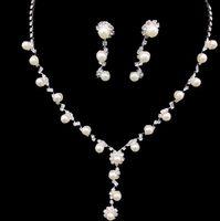 Wholesale Crystal Designer Bridal Set - STOCK Amazing designer peals Crystals Bridal Jewelry Crowns Tiaras Headpieces HOT Wedding bridal jewelry Set Sets Wedding Party Jewel