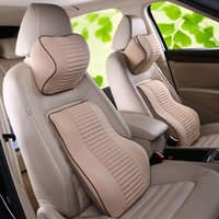 Wholesale Car Seat Cushion Back Support - Memory Foam back support Lumbar car seat back holder a set of waist support and head support five colors for car home office