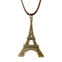 Wholesale Eiffel Tower Sweaters - Sweater Necklace Leather Jewelry Punk Jewelry Vintage Necklace Hip Hop Rock Retro Celtic Style Eiffel Tower Pendant M1433