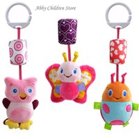 Wholesale Owl Pcs Set Baby - Wholesale- 3 Pcs  Set Baby Crib Stroller Toy Plush Owl Butterfly Ladybug Musical Infant Newborn Hanging Baby Rattle Accessories For Crib