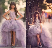 Wholesale Junior High Pageant Dresses - 2017 Luxury High Low Flower Girls Dress for Teens 3D Floral Appliques Hand Made Flowers Purple Ball Gown Junior Party Pageant Dress