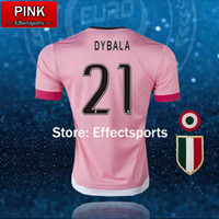 Wholesale pink 15 - 2016 BEST QUALITY Italy POGBA SOCCER JERSEYS 15 16 DYBALA MANEZUKIC MORATA HIGUAIN MARCHISIO BUFFON Pink Blue MEN SOCCER FOOBALL SHIRT