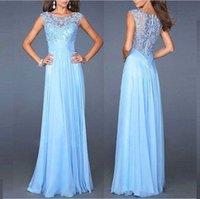 Wholesale Solid Light Blue Ball Gown - Sexy Lace Waist Long Dress Solid color round collar Sleeveless Splicing zipper 2017 Europe and the United States Evening Dresses wed034