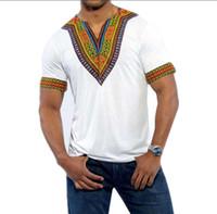 bohemia t shirt toptan satış-Erkek Dashiki Vintage T Shirt 2017 Pamuk Bohemia Retro Erkekler Tops Afrika Baskı T-shirt Etnik Geleneksel Tees Artı Boyutu