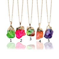 Wholesale Natural Diamonds Jewelry - New Natural Crystal Quartz Healing Point Chakra Bead Gemstone Necklace Pendant Original Natural Stone-style Pendant Necklaces Jewelry Chain