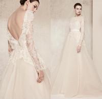 Wholesale Saab Wedding Dresses Sleeve - Elie Saab Lace Wedding Dresses Luxury Crystal Long Sleeves 2018 Bridal Gowns Bateau Neck Custom Made Bridal Gowns