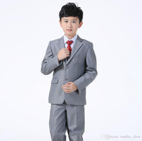 Wholesale Male Models Pieces - Wedding Boy's Suit Male flower children's Tuxedos Light Gray Groomsmen Suits new