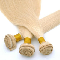 Wholesale platinum color hair extensions - Euramerican 6A Hair Virgin Human Weave Bundles Double Strong Machine Weft Platinum Blonde Silky Straight Hair Weaving Extensions