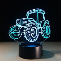 Wholesale Wholesale Toy Tractors - Wholesale- Tractor LED Night Light 3D Lamp 7 Colors Changing Touch Change Colors Decorative Table Lamp Living Room Lights Kids Gift Toys