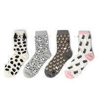 Wholesale Long Dog Pattern - Wholesale-women cotton socks for woman creative cartoon animal patterns tide socks spring autumn cute dog rabbit ladies long socks
