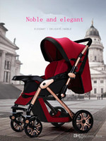 Wholesale Luxury Prams - 2017 new Europe luxury baby stroller high-landscape pram portable fold baby Carriage for newborn sit and lie 5 colors free shipping