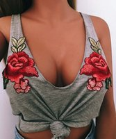 Wholesale Bow Blouse Xxl - Women crop top vest Sexy Floral Embroidery Tank Top Fashion Flower Female Scoop Neck Sleeveless Casual cropped vest Shirt Blouse XXL