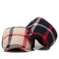 şapkalı şapkalar toptan satış-Erkekler Kadınlar Için toptan-Klasik Englad Stil Plaid Bereliler Caps Rahat Unisex Spor Kapaklar Pamuk Bereliler Şapka Boina Casquette Düz Kap