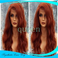 Wholesale extra long lace wigs - Cheap Extra Long Wine Red Synthetic Lace Front Wig Heat Resistant Wavy Burgundy Red Wig Kanekalon Natural Wig