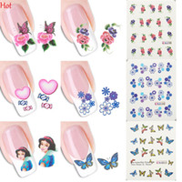 Wholesale Sticker Flowers Butterfly - Hot 50 Sheets Watermark Nail Stickers Mix Designs Random Flower Butterfly Water Transfer Nail Stickers Water Decals DIY Decoration SV030684