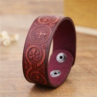 Wholesale Wholesale Vintage Wide Cuff Bracelets - New Arrival Handmade Vintage Brown Tree Of Life China Lucky Knot wide Cuff Wristband Retro Male Viking Jewelry Men leather