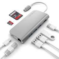 Wholesale Card Stock Types - Aluminium Type C USB C usb c type lan hub to HDMI Male (3Hz) Type-C Pass Through, Ethernet, SD Micro Card Reader, and 3 USB 3.0 Ports