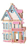 Wholesale Miniature Diy Assemble Toys - Wholesale- BOHS Gothic Doll House Children Educational Toys Wooden 3d Assembling Building Scale Model of Miniature DIY 30*18*45CM